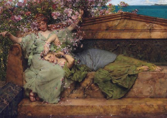 Alma-Tadema, Sir Lawrence: In a Rose Garden. Fine Art Print/Poster. Sizes: A4/A3/A2/A1 (003789)